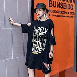露肩個性字母印花長版T恤-F(共三色)-CLORI