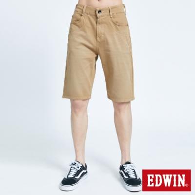 EDWIN JERSEYS 迦績 PK EJ3棉涼感寬鬆 牛仔短褲-男-灰卡其