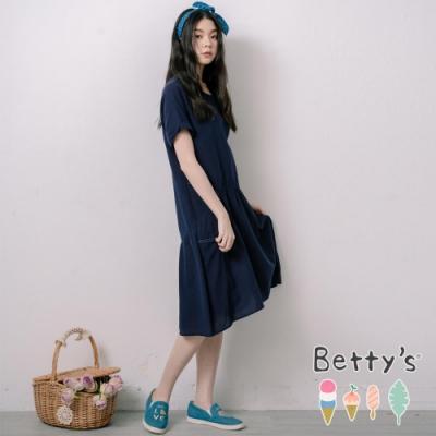 betty's貝蒂思 圓領素色袖口反摺洋裝(深藍)