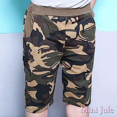 Mini Jule 短褲 迷彩雙口袋鬆緊彈性五分褲(綠)