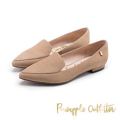 Pineapple Outfitter 知性美型 羊皮樂福尖頭低跟鞋-棕色