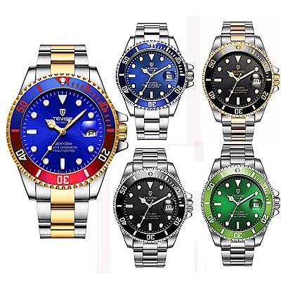美國熊 大三針日期窗 不鏽鋼錶帶 水鬼款石英機芯腕錶