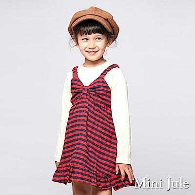 Mini Jule 洋裝 蝴蝶結格紋荷葉擺背心洋裝(紅)