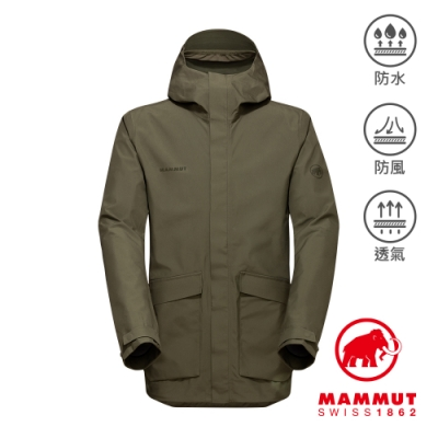 【Mammut 長毛象】Mammut 3L HS Hooded Jacket Men GTX多口袋連帽外套 綠鬣蜥 男款 #1010-28560