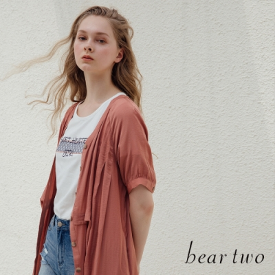 beartwo- V領微光澤襯衫式洋裝-兩色