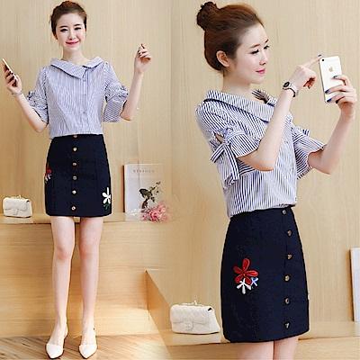 DABI 韓系學院風條紋襯衫包臀裙套裝短袖裙裝