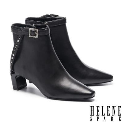 短靴 HELENE SPARK 高雅時尚晶鑽方釦條帶造型高跟短靴-黑