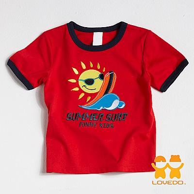 【LOVEDO-艾唯多童裝】太陽衝浪 短袖T恤 (紅)