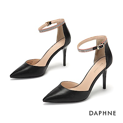 達芙妮DAPHNE 高跟鞋-撞色條紋踝帶尖頭高跟鞋-黑