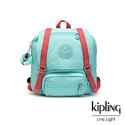 Kipling 糖果色調薄荷綠撞色雙扣翻蓋束口後背包-JOETSU S