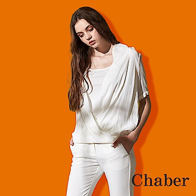 Chaber巧帛 氣質羅馬抓皺顯瘦V領微寬五分袖罩衫式造型雪紡上衣(兩色)-白