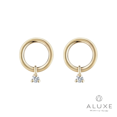 ALUXE亞立詩 Shine系列 甜甜圈垂墜鑽石耳環