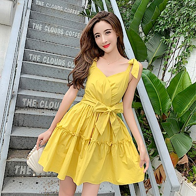 DABI 韓系吊帶大擺裙綁帶拼接收腰蛋糕裙無袖洋裝