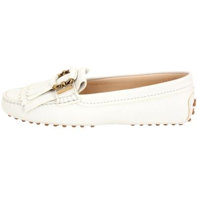 TOD'S Gommino 雙T金環流蘇牛皮豆豆鞋(白色)