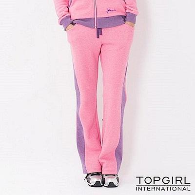 【TOP GIRL】亮麗女孩刷毛針織剪接長褲-麻花桃