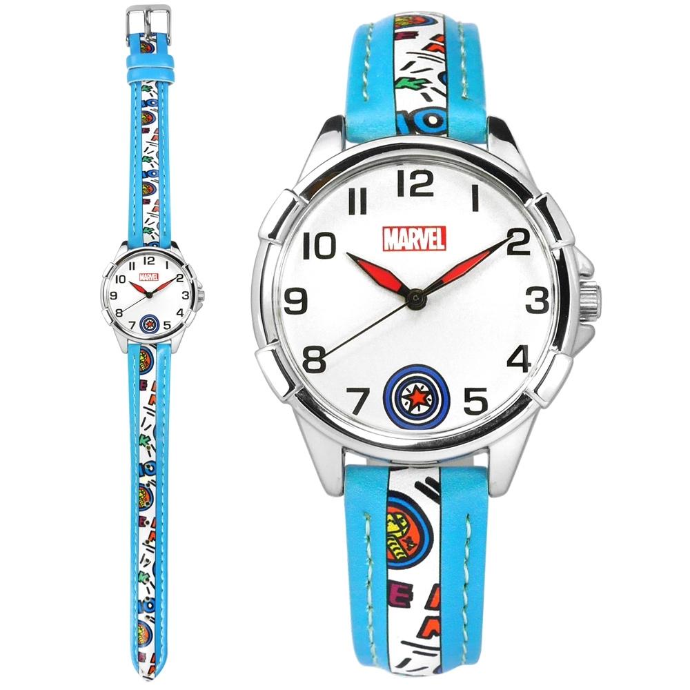 Disney 迪士尼 漫威系列 美國隊長 盾牌 兒童錶 卡通錶 皮革手錶-白x藍/32mm