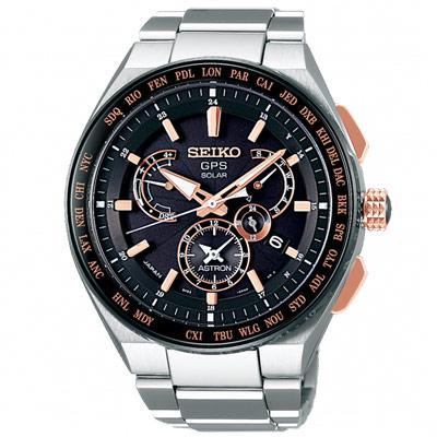 SEIKO 精工ASTRON雙時區GPS定位鈦金錶SBXB125J-黑銀/46mm
