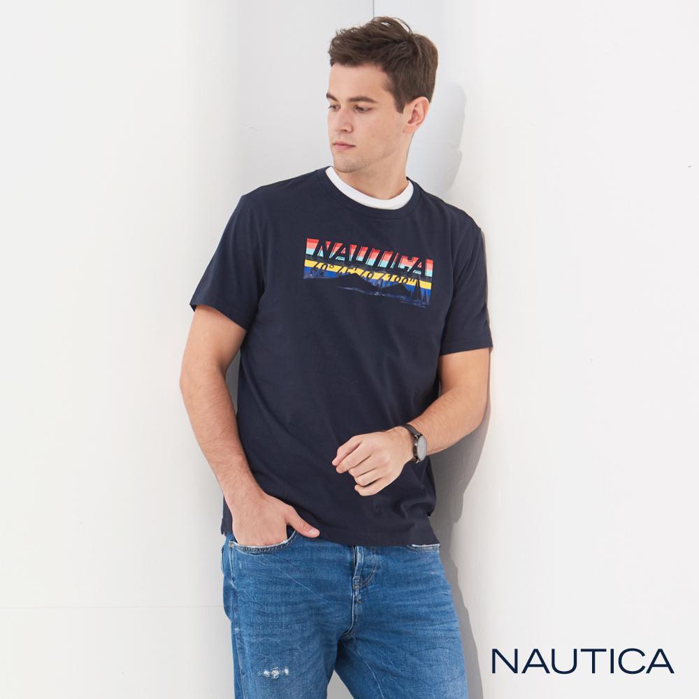 Nautica 繽紛LOGO圖騰短袖T恤-深藍