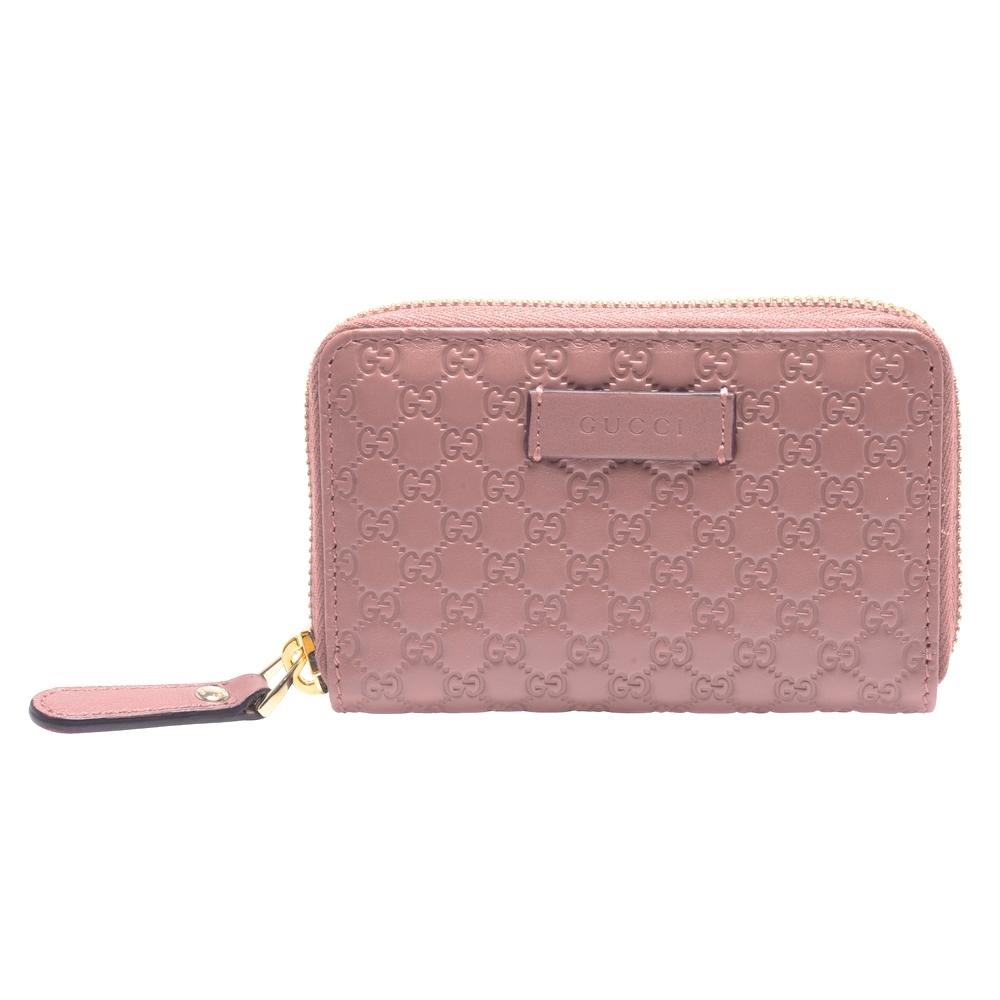 GUCCI 經典Guccissima GG壓紋牛皮拉鍊零錢包(粉紅)