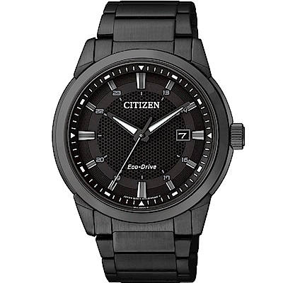 CITIZEN GENTS Eco-Drive 簡約經典時尚全黑鋼男錶/黑/BM7145-
