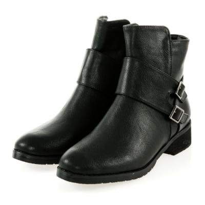 JMS-人氣焦點寬帶雙釦環造型拉鍊短靴-黑色