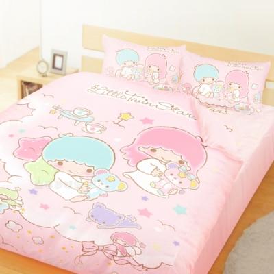 享夢城堡 精梳棉雙人加大床包薄被套四件組-雙星仙子Little Twin Stars 小熊扮家家-粉