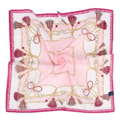 MARIO VALENTINO 燙銀LOGO流蘇繩結純綿帕巾-粉色