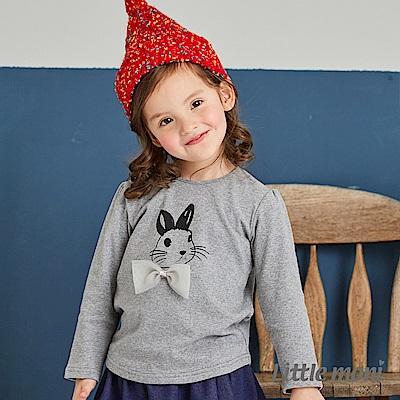 Little moni 立體領結小兔印圖上衣(共2色)