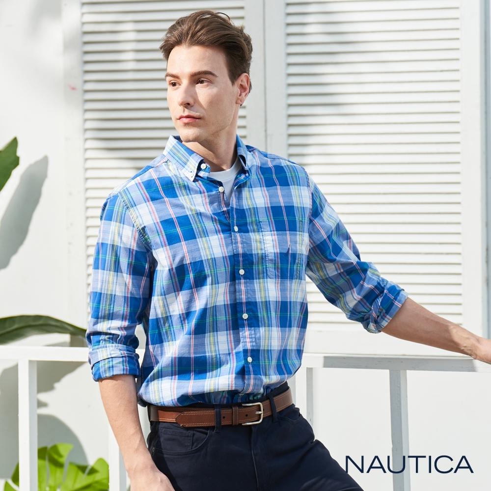 Nautica經典中格紋長袖襯衫-藍格