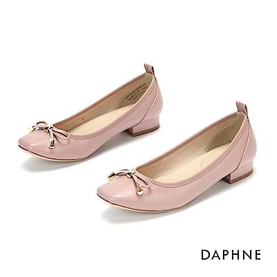 達芙妮DAPHNE 娃娃鞋-甜美蝴蝶結方頭低跟娃娃鞋-粉紅