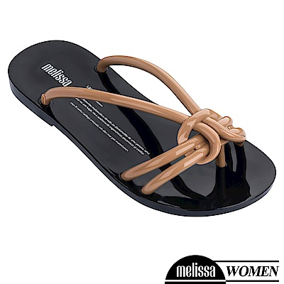 Melissa 扭結線條質感涼拖鞋-咖啡