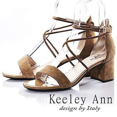 Keeley Ann 韓式風潮~交叉細帶素色真皮粗跟涼鞋(棕色-Ann)