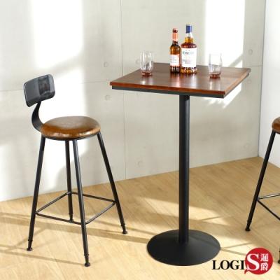 LOGIS|60工業高吧方桌 實木桌  星巴克 咖啡廳 高腳桌 高腳吧凳 復古鐵藝 酒吧桌