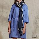 GLORY21 素雅編織綁帶亞麻洋裝-藍