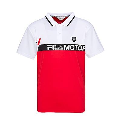 FILA 男款吸濕排汗短袖POLO衫-紅色 1POT-1474-RD