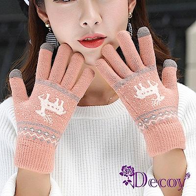 Decoy 聖誕馴鹿 男女保暖針織觸控手套 粉