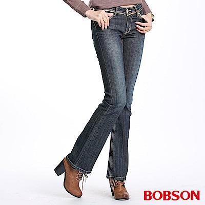 BOBSON 女款金色出芽小喇叭褲(藍52)