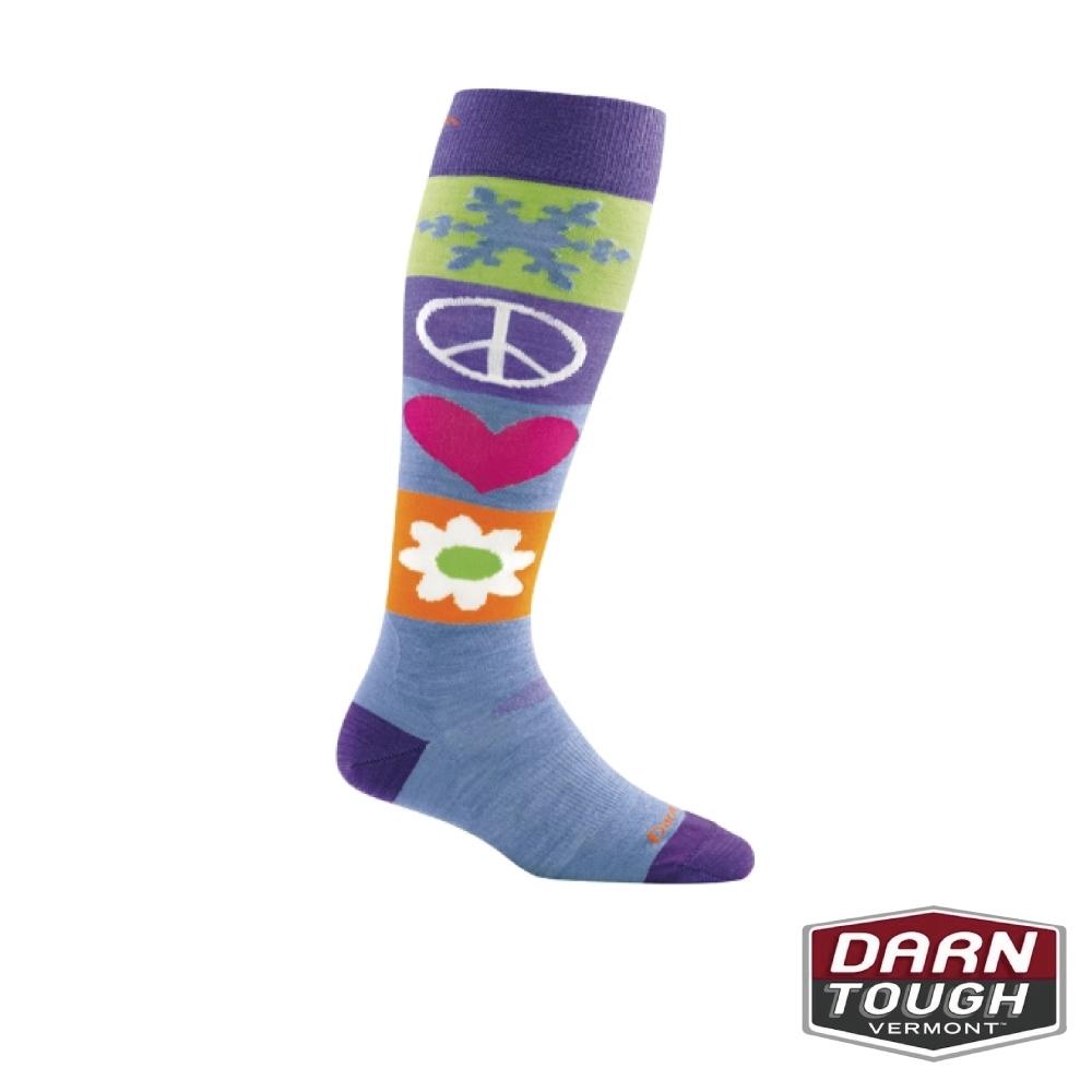 【美國DARN TOUGH】女羊毛襪PEACE LOVE滑雪襪(隨機)