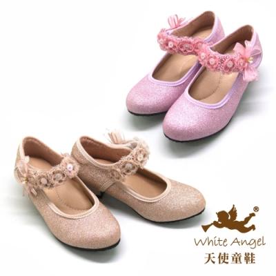 天使童鞋-漫舞幻彩高跟鞋(中-大童)J967-金、粉