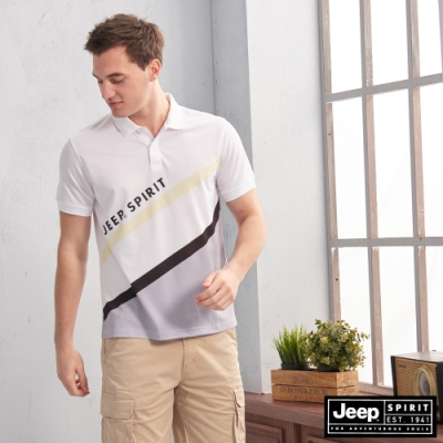 JEEP HiCool吸濕排汗斜身拼接短袖TEE-白色