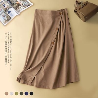 【KISSDIAMOND】涼感舒適棉麻鬆緊一片裙設計中長裙(KDS-7326)