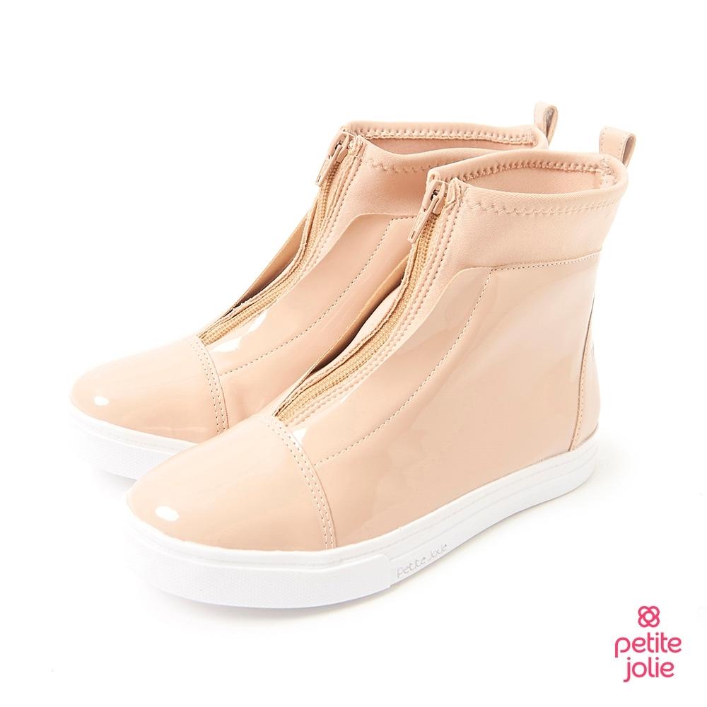 Petite Jolie-經典拼接厚底靴-粉膚