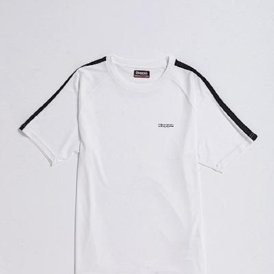 KAPPA義大利 精典型男吸濕排汗短袖衫~白 黑304P7S0917