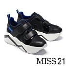 休閒鞋 MISS 21 前衛復古交織拼接設計條帶超厚底休閒鞋-黑