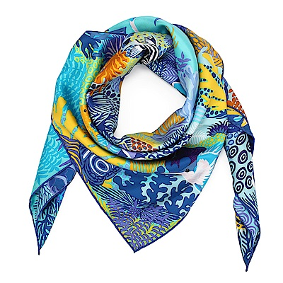 HERMES 海底世界 真絲披肩方型絲巾-淺藍色