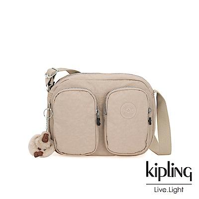 Kipling 溫暖奶茶色雙拉鍊前口袋側背包-PATTI
