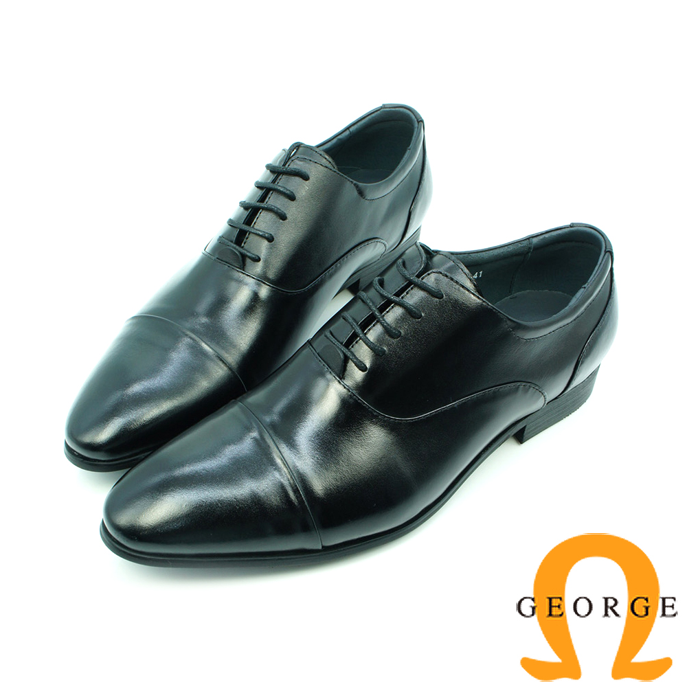 【GEORGE 喬治皮鞋】真皮橫飾漸層綁帶紳士鞋皮鞋-黑
