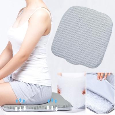6D空氣纖維舒適涼感透氣坐墊(加贈頸掛式風扇)