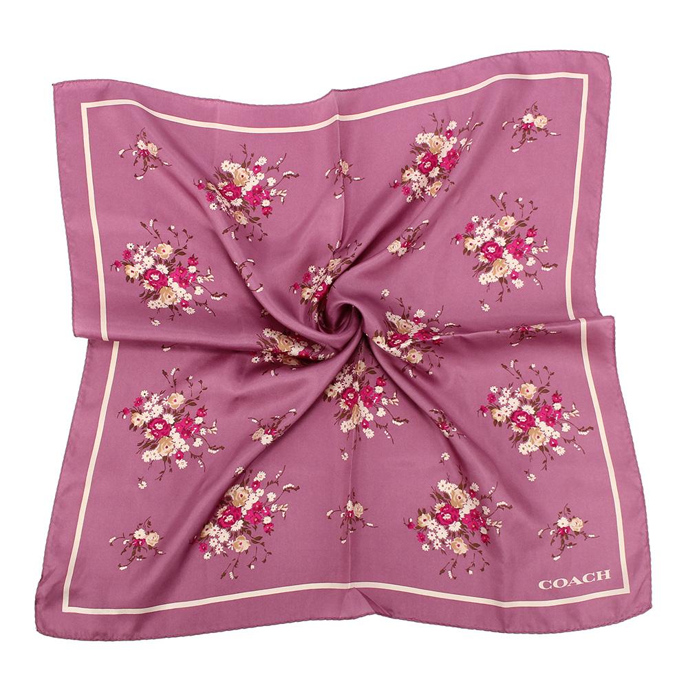 COACH 花卉圖案真絲方巾-紫COACH