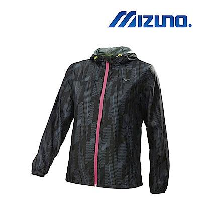 MIZUNO 美津濃 女連帽式路跑風衣 黑 J2TC828609